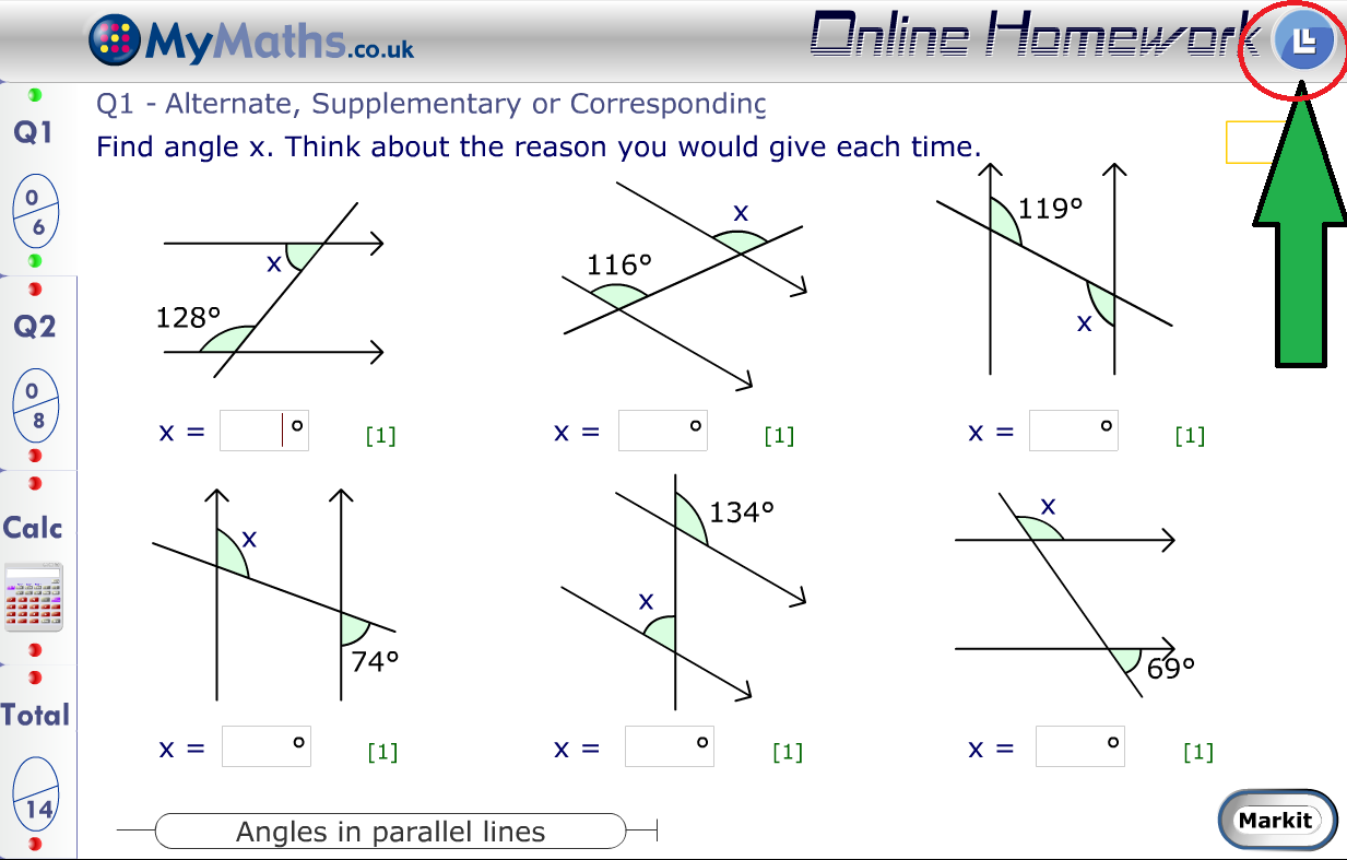 Answers to my maths online homework