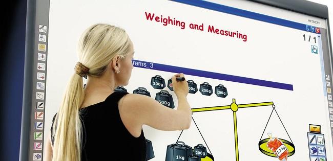 interactive whiteboard woman