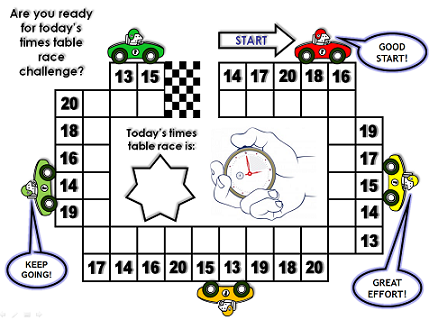 car racing 13-20 times table challenge worksheet