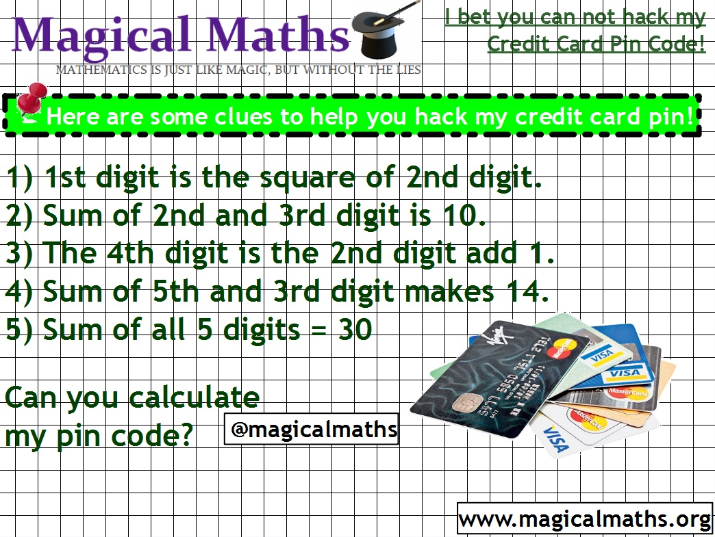 How to hack credit cards using Mathematics! I bet you can not work out my credit card pin code!