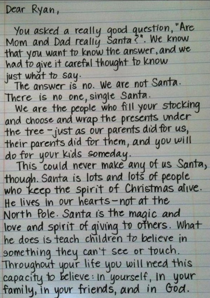 santa is not real letter