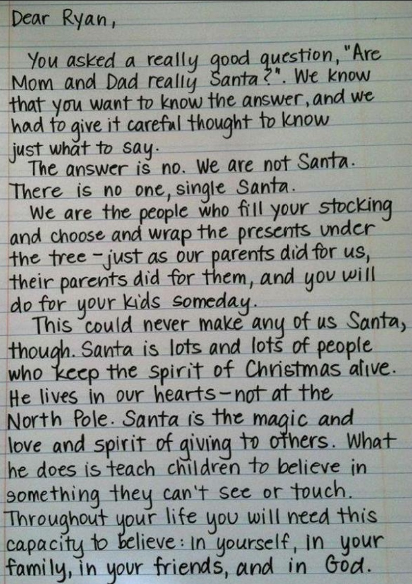 santa is not real letter |