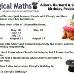 Albert Bernard and Cheryl's Birthday Maths Problem Picture Image