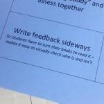 I love this idea of giving feedback sideways