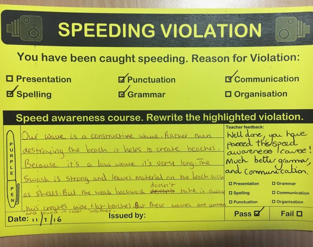 speeding violation teaching 1