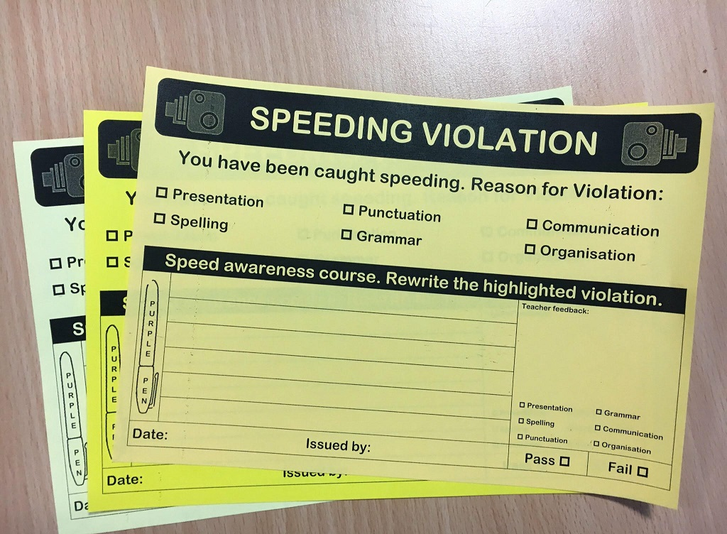 QUICK! Check out this great teaching idea! The Literacy speeding ticket!