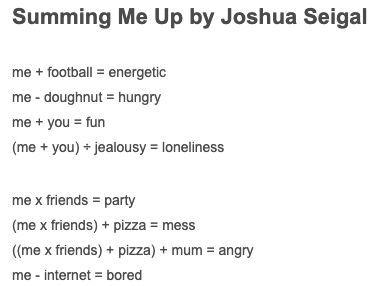"Have you ever tried Maths Poetry? Take a look at ""Summing Me Up"". @joshuaseigal"