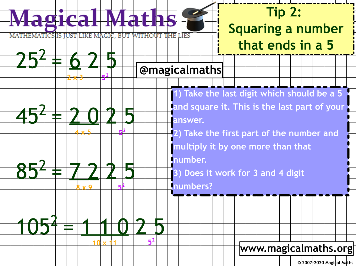 Do you know how to square large numbers that end in 5? Mind Blown!